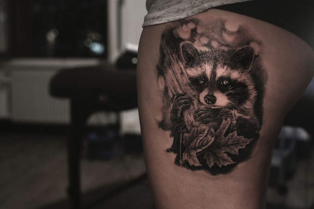 Raccoon tattoo done by Angelique Grimm
