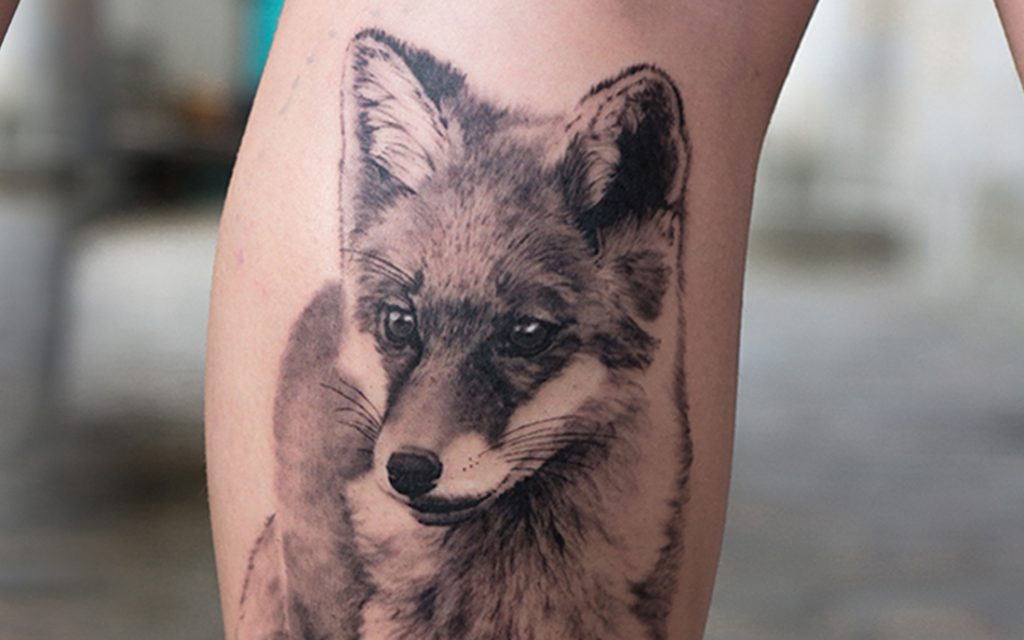 Fox tattoo done by Angelique Grimm