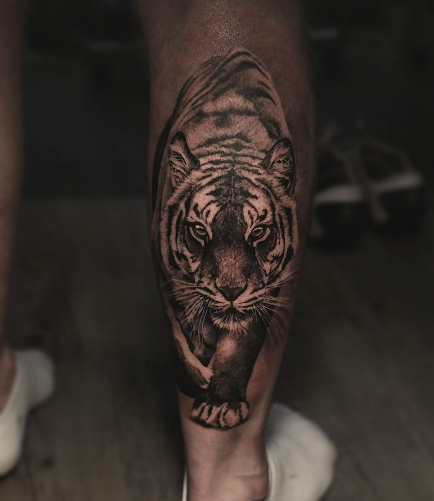 Tiger tattoo done by Angelique Grimm