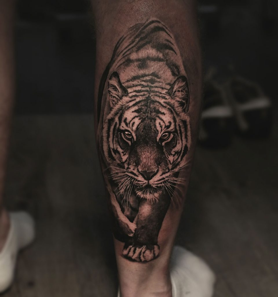 Tiger tattoo made by Angelique Grimm